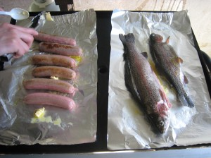 BBQ time..... trout that we caught